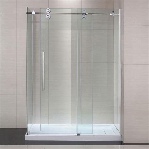Frameless Shower Door Sliding Schon Sc70019 Lindsay Frameless Sliding Glass Shower Door Atg Stores