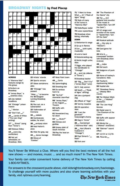 section crossword clue for more tony fun like this broadway crossword puzzle