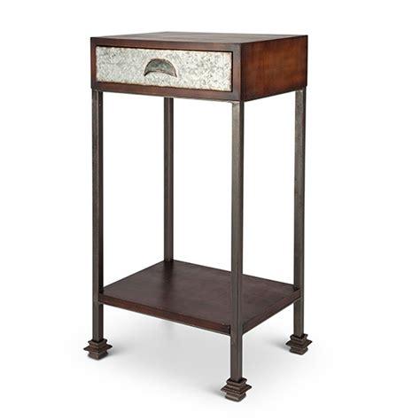 rustic wood side table lone elm studios rustic metal wood side table 93213