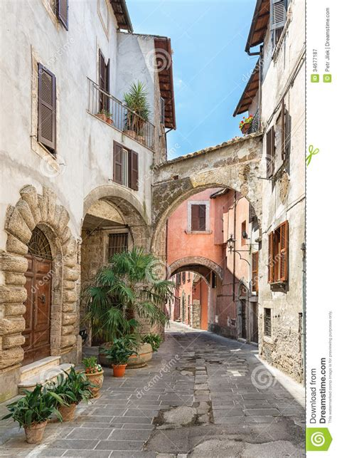 Tuscan Home Plans pretty street in the ancient city of tuscany royalty free