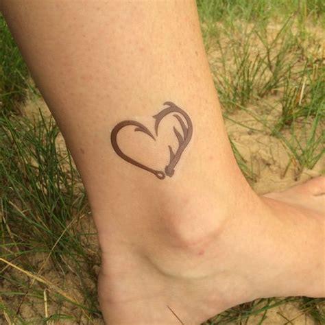 heartbeat hunting tattoo fishing tattoo fish hook heart hunting tattoo deer
