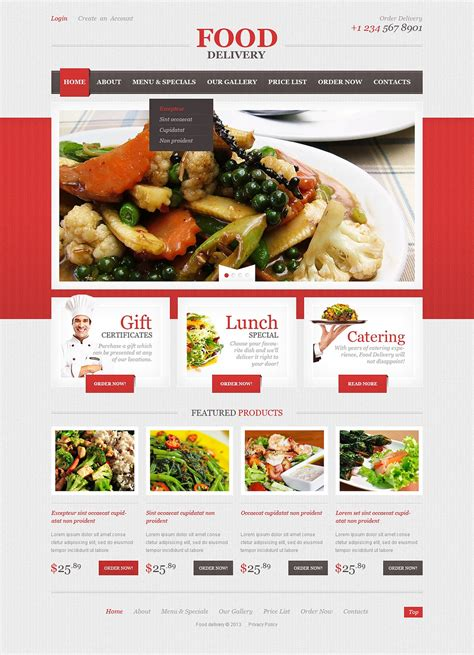 catering responsive website template 44196