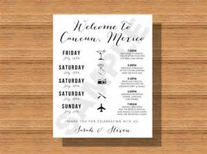 wedding welcome bag itinerary template cancun mexico destination wedding welcome bag