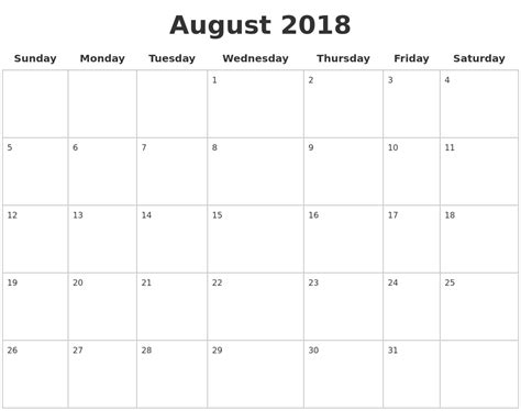printable calendar pages 2018 august 2018 blank calendar pages