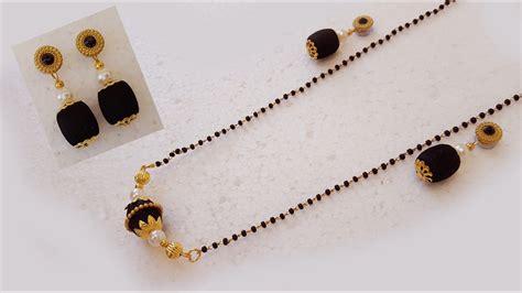 small black jewellery designs silk thread black beeds necklace mangalsutra black