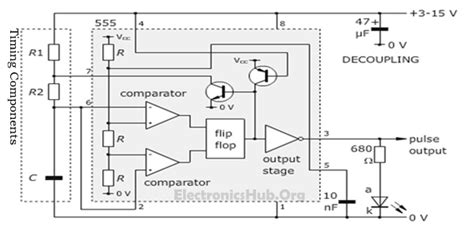 circuit diagram of astable multivibrator working of 555 timer as an astable multivibrator eeweb
