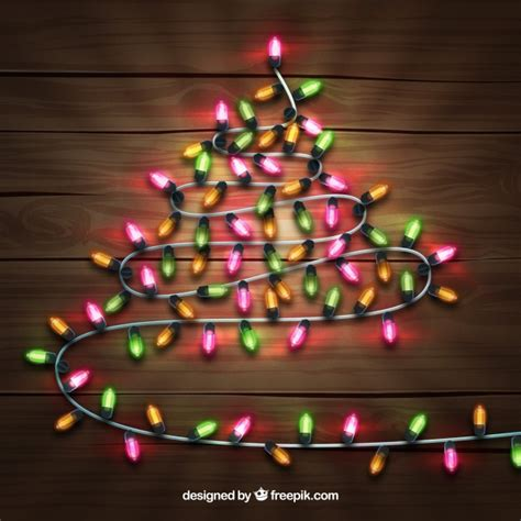 christmas tree made out of christmas lights vector free