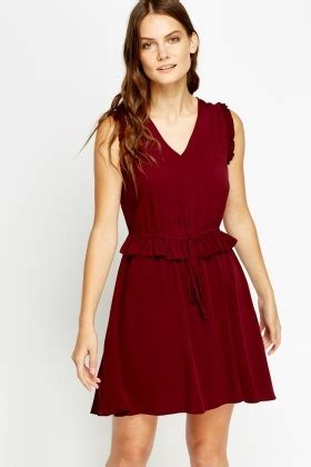 frilled waist wine dress just £5