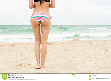 little girls swimwear bikinis rear view sandy woman buttocks stock photo image 42821018