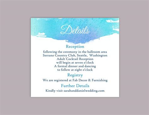 detaild wedding card template diy watercolor wedding details card template editable word