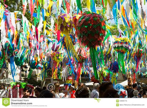 decorations in spain for gracia festival decorations in barcelona spain editorial