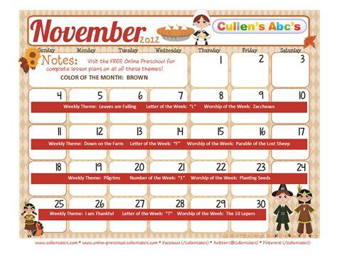 Calendar November 2012 Preschool Calendars Preschool And Children S
