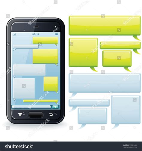 iphone sms template phone chatting template place your own stock vector