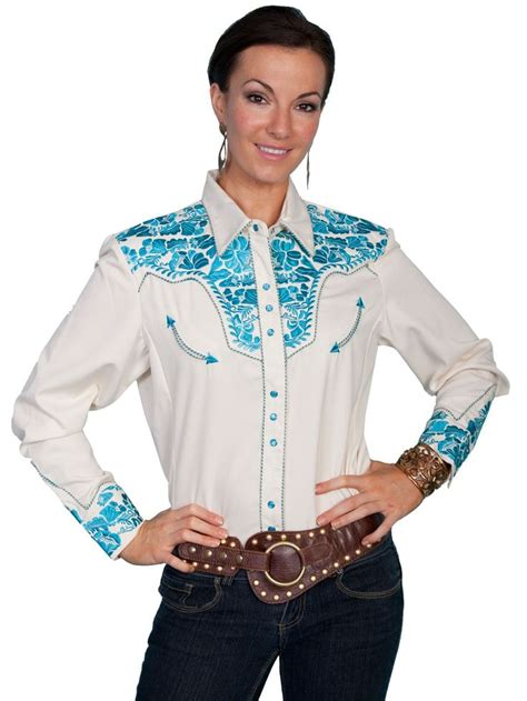 Denim Shirt X Sweater scully western womens polyester l s floral stitch western shirt clothing