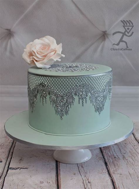 How to Make Silver Metallic Edible Lace   Cake decorating