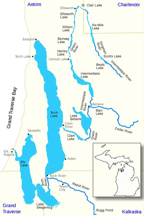 map us lakes elk river chain of lakes watershed