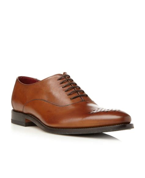loake oxford shoes loake monro punched toe oxford shoes in brown for lyst