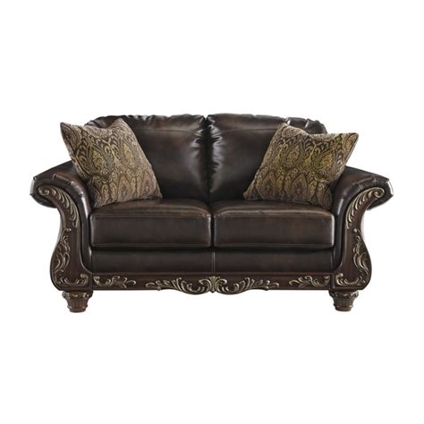 antique leather loveseat ashley vanceton leather loveseat in antique 6740235