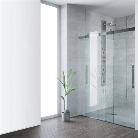 Steel Shower Doors Shop Vigo Caspian 59 In To 61 In Frameless Stainless Steel Sliding Shower Door At Lowes