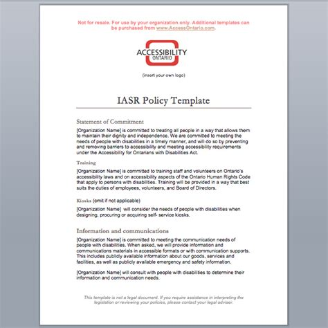 aoda policy template images templates design ideas