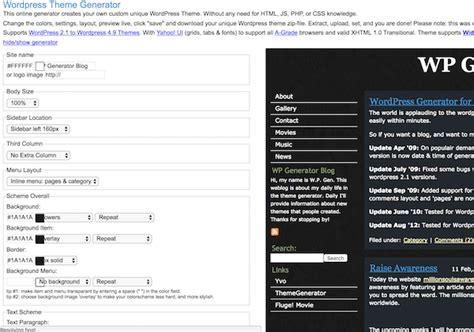 wp theme generator online wordpress theme generator free website tools
