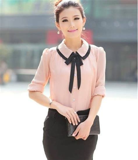 H118559 Atasan Baju Kerja Wanita Contrast Shirt blusas en chifon buscar con blusas clothes work and business