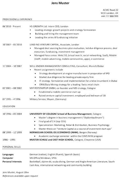 Lebenslauf Muster Hochschule Lebenslauf Berufserfahrener Venture Capital Associate
