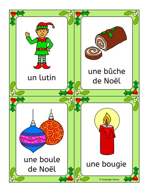 christmas decorations flashcards noel activities worksheets word wall bingo cards