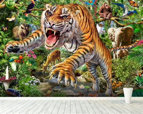 wildlife wall mural tiger and wildlife wall mural tiger and wildlife