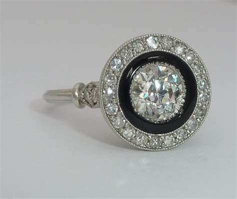 french art deco platinum diamond onyx engagement ring