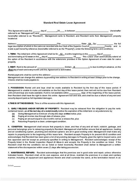 Printable Standard Real Estate Lease Agreement Buying Template 2015 Sle Forms 2015 Sle Property Lease Agreement Template