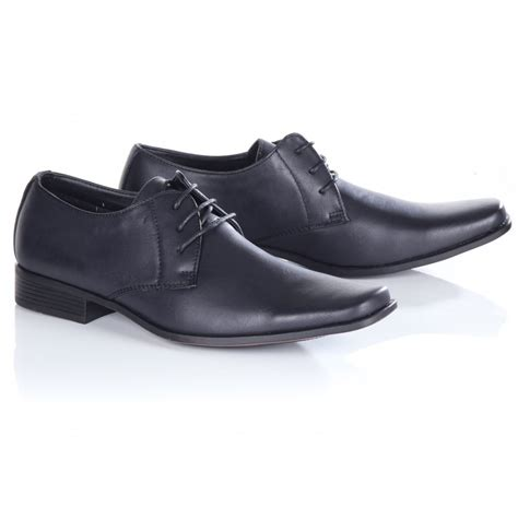 s blue inc black lace up smart shoes