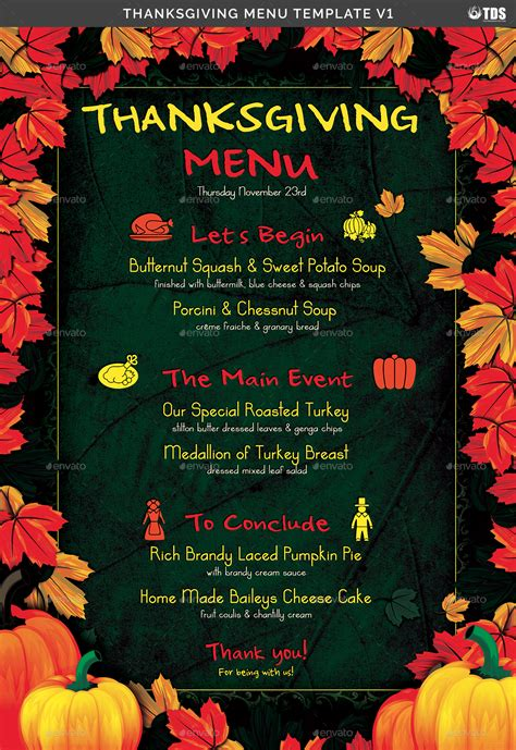 thanksgiving menu template v1 by lou606 graphicriver