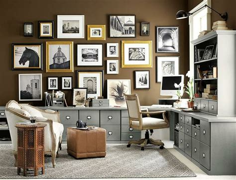home office gallery brown home office with gallery wall wall art pinterest