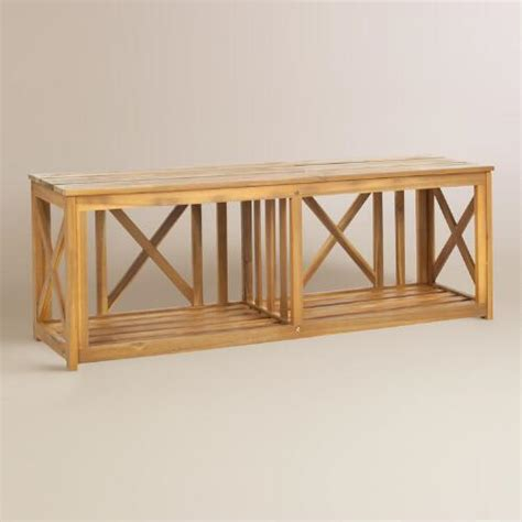 natural wood bench outdoor natural brown wood adlon outdoor bench world market