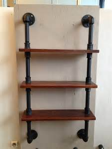 12 Inch Bookcase Pipe Shelf With 3 Wood Shelves By Industrialpipedesign On Etsy