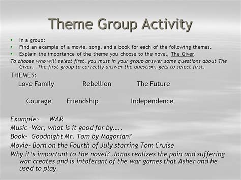 themes and exles in the giver the giver a look at themes ppt video online download