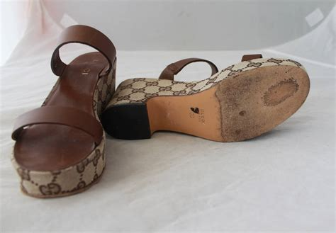 Gucci Wedges Brown gucci brown monogram wedge sandal 6 for sale at 1stdibs