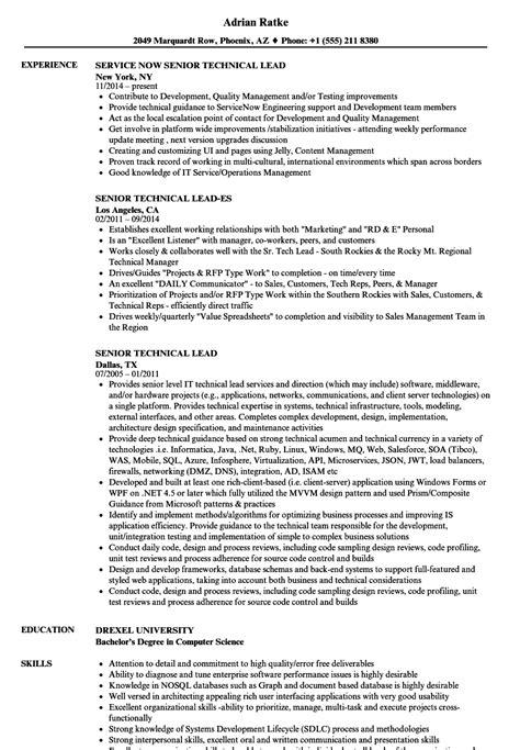 senior technical lead resume sles velvet