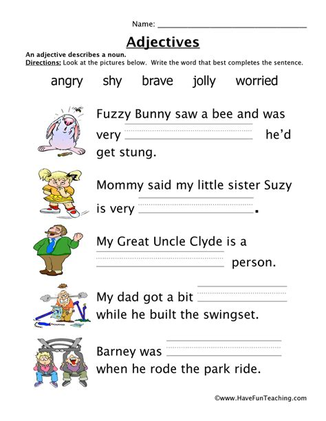 Adjective Worksheets For Grade by Adjective Worksheets Teaching
