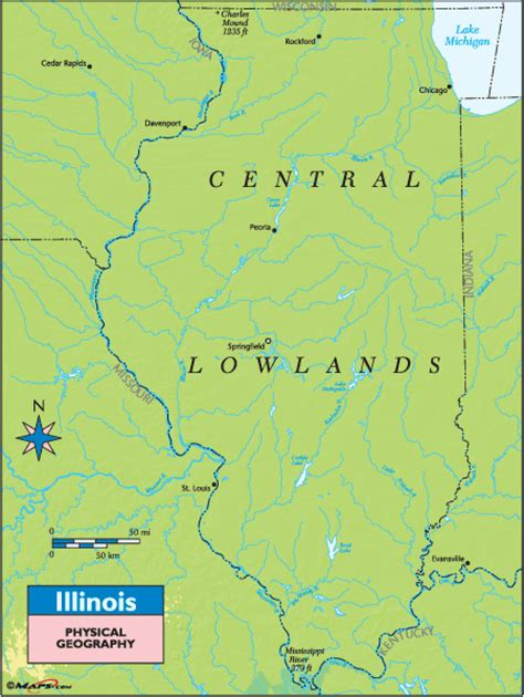 illinois physical map illinois physical geography map by maps from maps