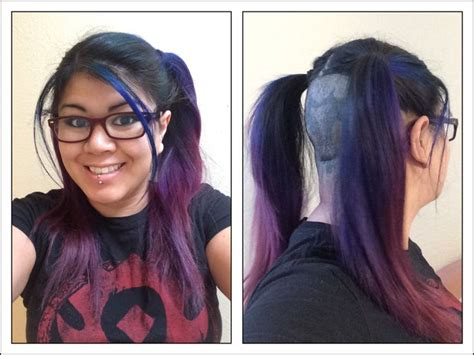 bottom half of hair dyed blue purple ombre half shaved long female hair pig tails