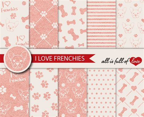 paper pattern in french rose gold graphics i love frenchies dig design bundles