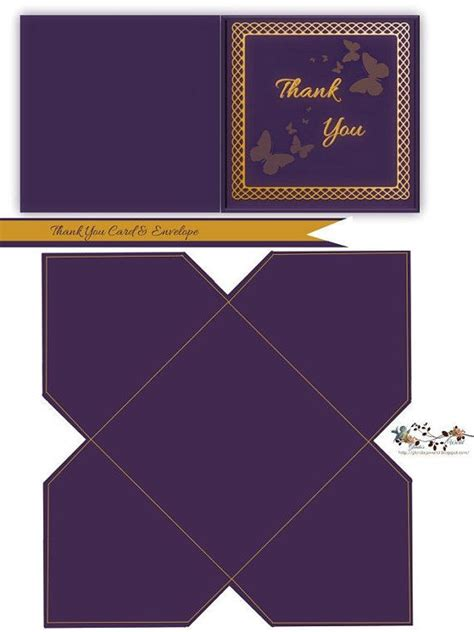 thank you card and envelope template purple and gold thank you note card envelope note