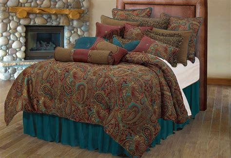 Brown Duvet Set San Angelo Comforter Set With Teal Bedskirt