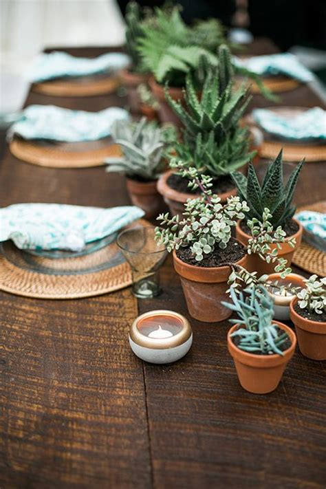 wedding centerpiece idea we potted plants wedding