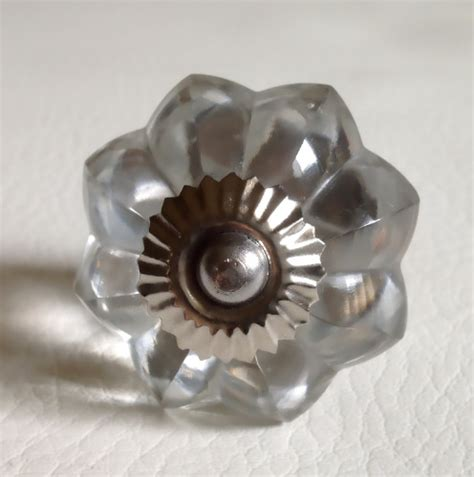 clear glass simple flower cabinet knobs dresser drawer