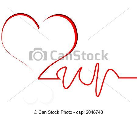 heart beat heart with line white background eps vector