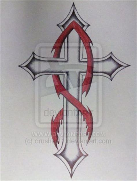 cross tattoos with jesus inside cross cross jesus fish by drusher11 deviantart on