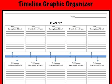 printable timeline organizer timeline graphic organizer by kimkroll8 teaching